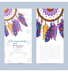 Flyer with Hand drawn dreamcatcher and feathers vector image vector image