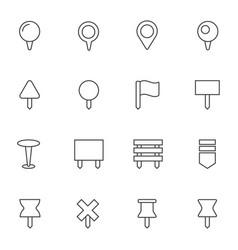 navigation pins icons set vector image vector image