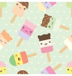 pattern of cute kawaii style ice cream bars vector image