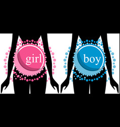 set of two silhouettes of pregnant women vector image