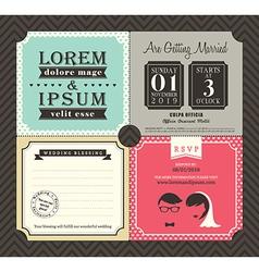 Vintage Boarding Pass Ticket Wedding Invitation vector image