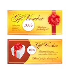 Voucher templates with red bow ribbons design vector image