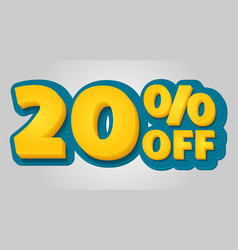 20 off discount banner special offer sale tag in vector image
