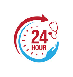 24 hour medical care service icon daynight vector image