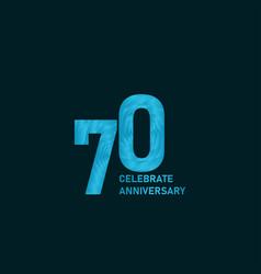 70 year anniversary aqua color template design vector