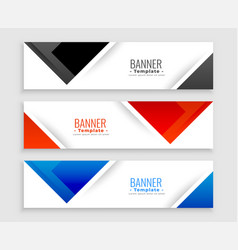 abstract set modern banners in triangle shapes vector image