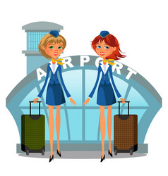 Airport building and flight attendant girls vector