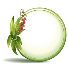 An empty circle border with elongated leaves vector image