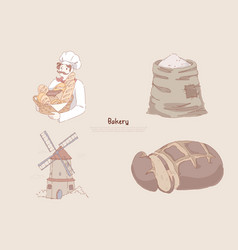 baker holding basket with delicious baking wheat vector image