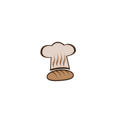 Bakers hat and hot bread for logo design vector