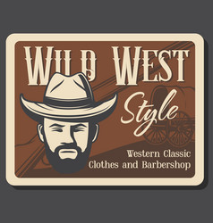 Barbershop salon western style clothes shop vector