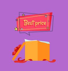 best price open gift box in beige wrapping paper vector image