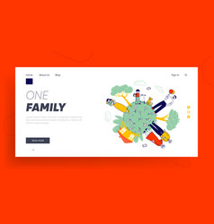 big happy family website landing page vector image