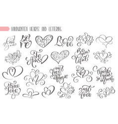 big set hand written lettering about love to vector image