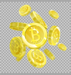 Bitcoins on a transparent background isolated vector