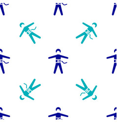 Blue bungee jumping icon isolated seamless pattern vector