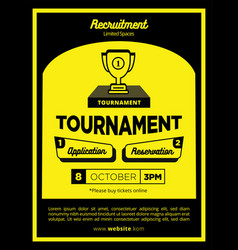 bold yellow and black creative tournament vector image