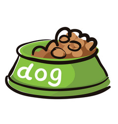 Bowl dry food for dogs with caption vector