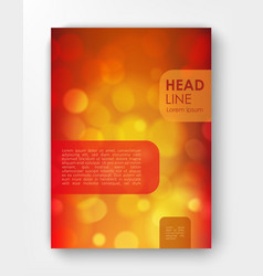 Brochure design template with bokeh backgrounds vector