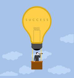 Businessman on an air balloon success business vector