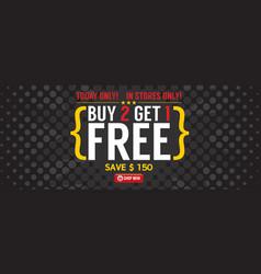 Buy 2 get 1 free 5000x2000 pixel banner vector