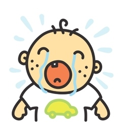 Cartoon crying baby isolated vector image