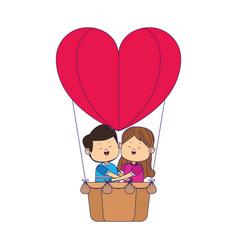 Cartoon happy couple in hot air balloon in heart vector