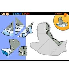 Cartoon walrus puzzle game vector
