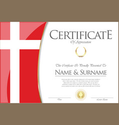 Certificate or diploma denmark flag design vector