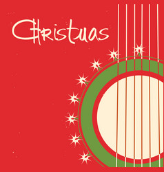 christmas guitar background old poster with vector image