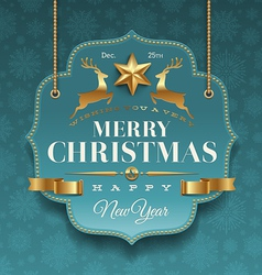 Christmas ornate labels with holidays greeting vector
