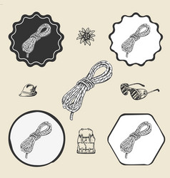 climbing ropes vintage icon flat web sign symbol vector image