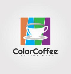 Color coffee logo design food icon element vector