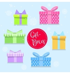 Colorful gift boxes in flat styleLots of presents vector image