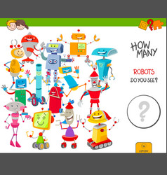 Counting cartoon robots educational game vector
