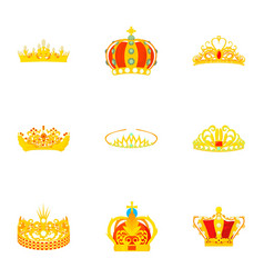 crowned head icons set cartoon style vector image