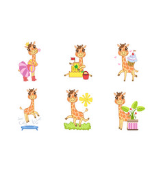 cute giraffe cartoon character set adorable vector image
