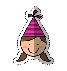 Cute girl character with hat party vector