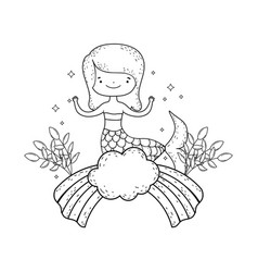 cute mermaid with flowers in cloud vector image