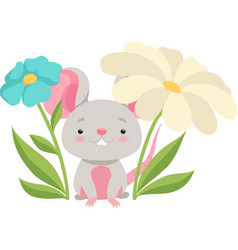cute mouse in flower garden funny animal cartoon vector image