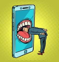 dangerous phone look online and internet vector image
