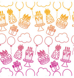Degraded line happy birthday party decoration vector