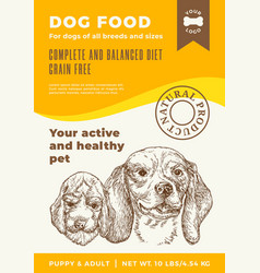 Dog food label template abstract packaging vector