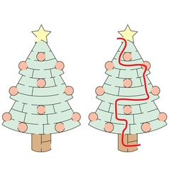 Easy christmas tree maze vector