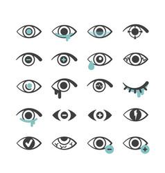 eyes icons ophthalmology medical symbols optical vector image