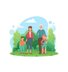 family people standing in summer city green park vector image