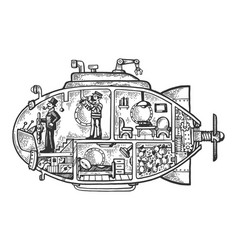 fantastic fabulous submarine engraving vector image