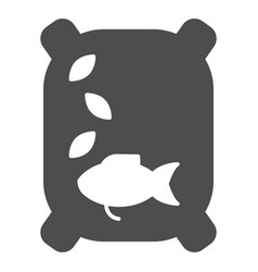 Fish feed solid icon food for fish vector
