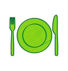 Fork knife and plate sign lemon scribble vector