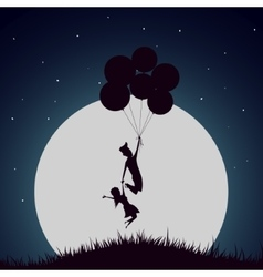 Girl and boy flying with helium balloons vector